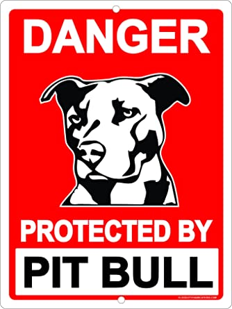 Amazon.com: Alerta protegidos por Pit Bull Pitbull Perro ...