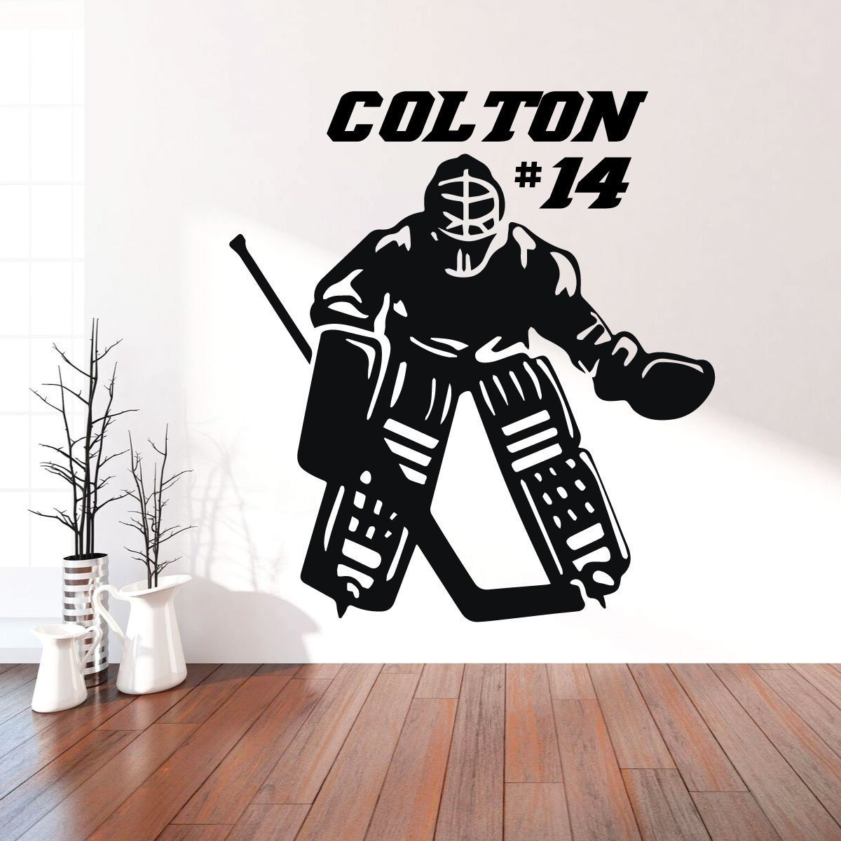 Hockey Goalie Wall Decal - Personalized Vinyl Decor For Teen, Boy's Bedroom or Playroom - Sports Decorations