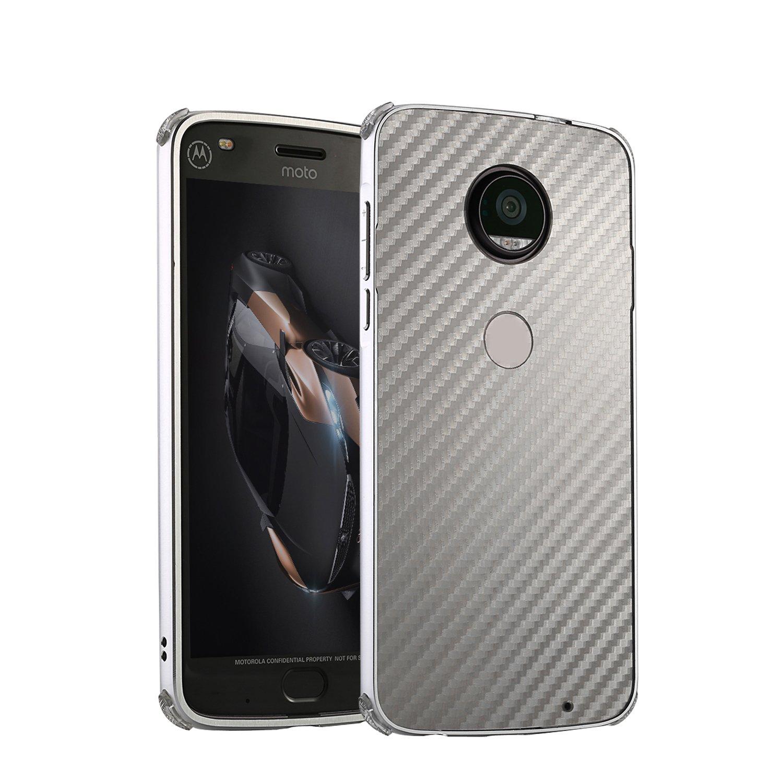 DAMONDY Moto G6 Case, Luxury Carbon Fiber Design Ultra thin Imitation Metal Brushed Premium Aluminum Shockproof Protective Bumper Hard Back Case Cover for Motorola Moto G6 5.7 Inch-Silver