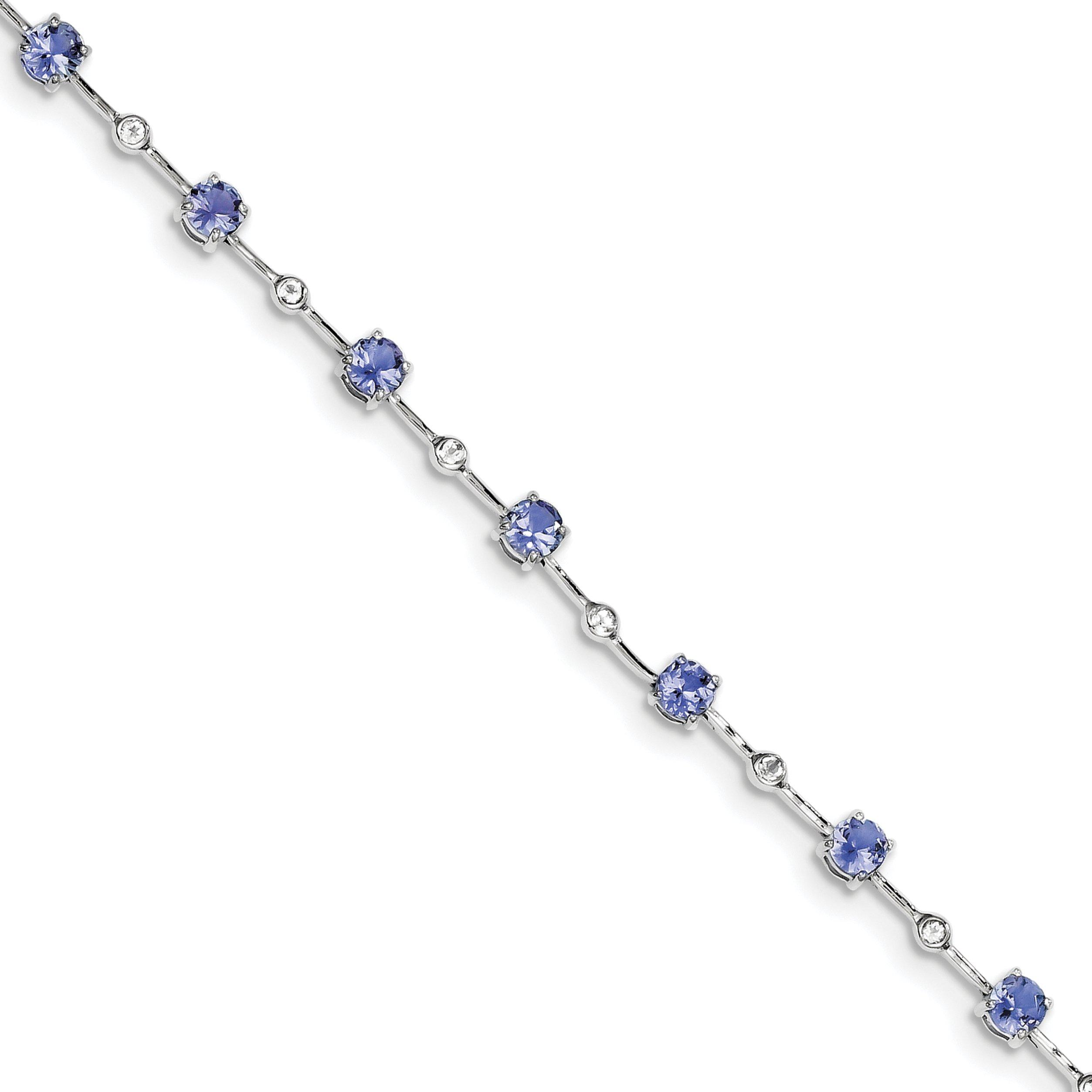 ICE CARATS 925 Sterling Silver Blue Tanzanite White Topaz Bracelet 7 Inch Gemstone Fine Jewelry Gift Set For Women Heart