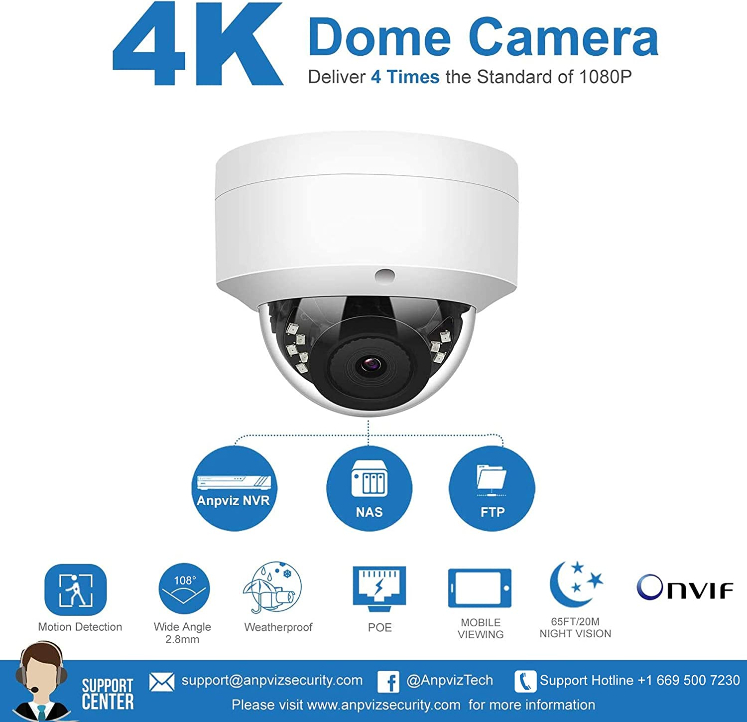 Weatherproof 8CH 4K H.265 NVR with 2TB HDD with Hik-Connect IVMS4200 4 8MP Outdoor IP POE Dome Cameras Home Security System with Audio 98ft Night Vision Anpviz 8MP IP POE Security Camera System