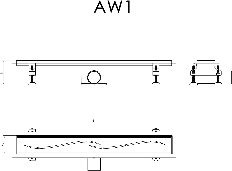 Caniveau canivelle 90cm pour douche /à litalienne vidage siphon int/égr/é Sogood AR01-900
