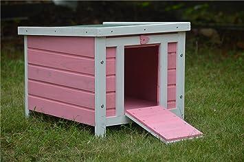 BUNNY BUSINESS - Casa de Madera para Gatos, Cachorros, Conejos, cobayas, 51 x 44 x 42 cm, Color Rosa