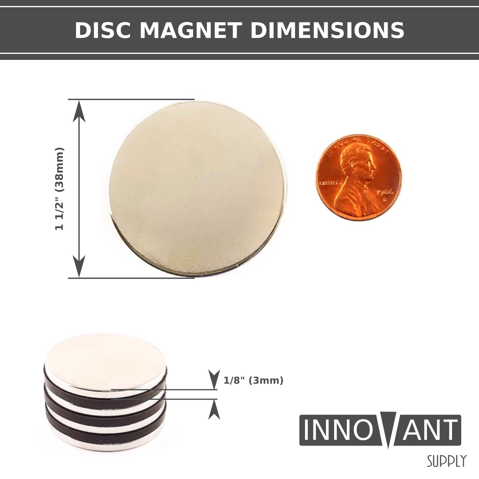INNOVANT 4 Pack Neodymium Disc Magnets 1 1/2'' d x 1/8'' h N45 Grade Strong Permanent Rare Earth Magnets - Best for DIY Arts & Crafts Projects, School Classroom Science Project & Office or Work Supply by Innovant Supply (Image #6)