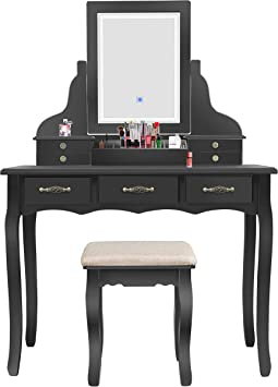 Amazon Com Led Vanity Table 7 Drawers Makeup Dressing Table With Cushioned Stool Black Kitchen Dining