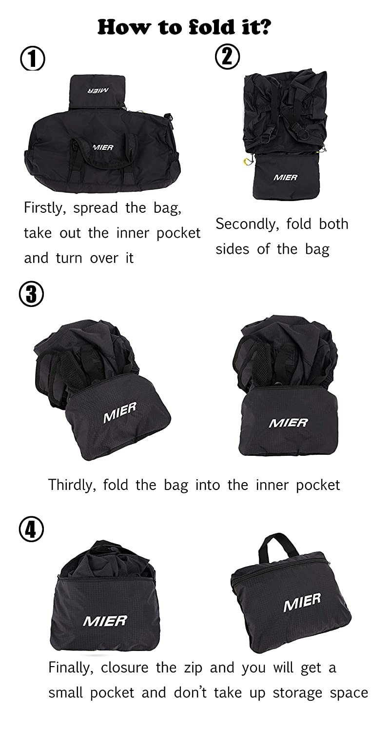 4d9d43841 Travel MIERLIFE-SPO003 black MIER Foldable Small Duffel Bag Lightweight for  Sports Yoga Black Overnight Weekender ...