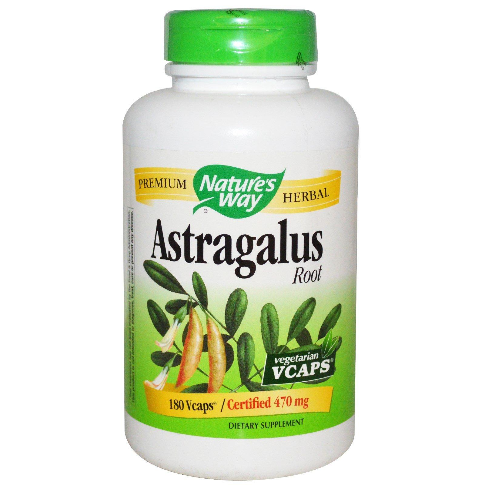 Nature's Way Astragalus Root, 470 milligrams, 180 Vegetarian Capsules. Pack of 2 bottles