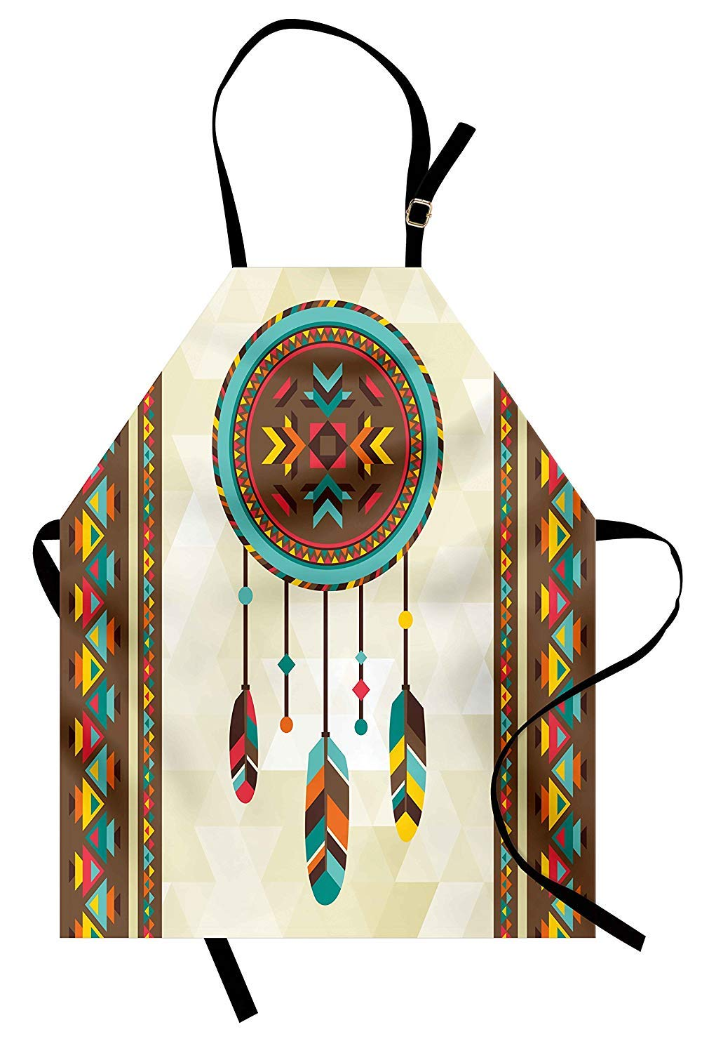 Fantasy Star Waterproof Apron with Adjustable Neck- Dream Catcher Illustration with Tribal Background Quills Native American Traditional Unisex Durable Bib Apron for Grill Cooking Baking by Fantasy Star
