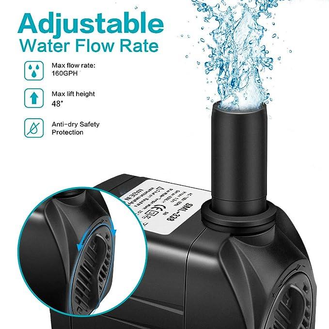 """Amazon.com: Winkeyes 160GPH Fountain Pump with 48"""" Lift, 8W ..."""
