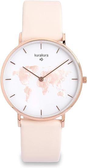 Kurakura Damen Uhr Mit Weltkarte Aus Edelstahl Und Saphirglas Rose