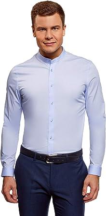 oodji Ultra Hombre Camisa Extra Slim con Cuello Mao