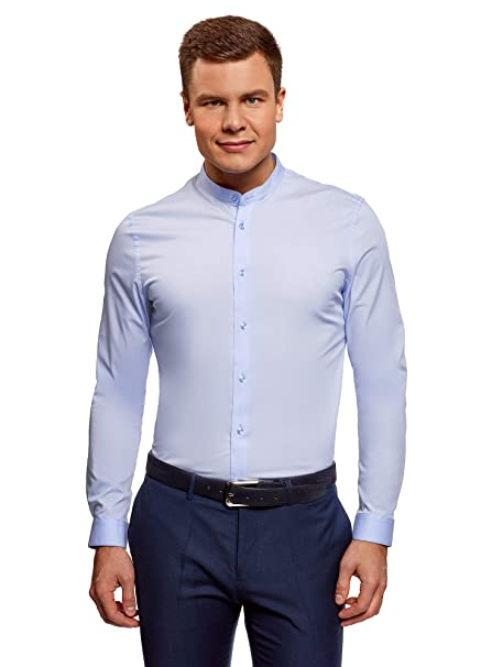 oodji Ultra Hombre Camisa Entallada con Cuello Mao  Amazon.es  Ropa y  accesorios e6e3d6580a5
