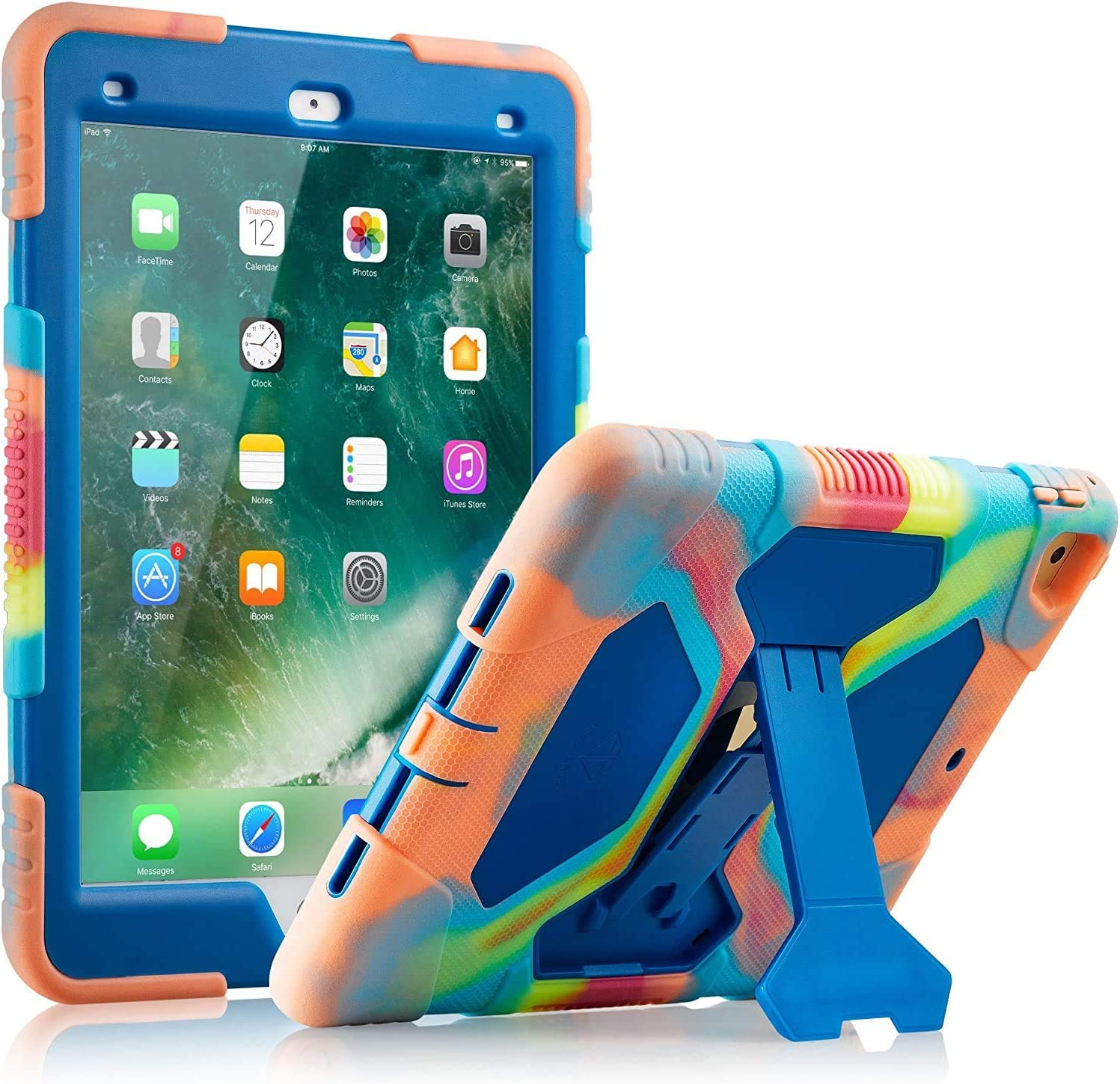 ACEGUARDER iPad Air 2 Case/iPad 9.7 Case 2018 iPad 6th Generation Case / 2017 iPad 5th Generation Case for Kids, Shockproof Cover with Adjustable Kickstand-Ice/Blue