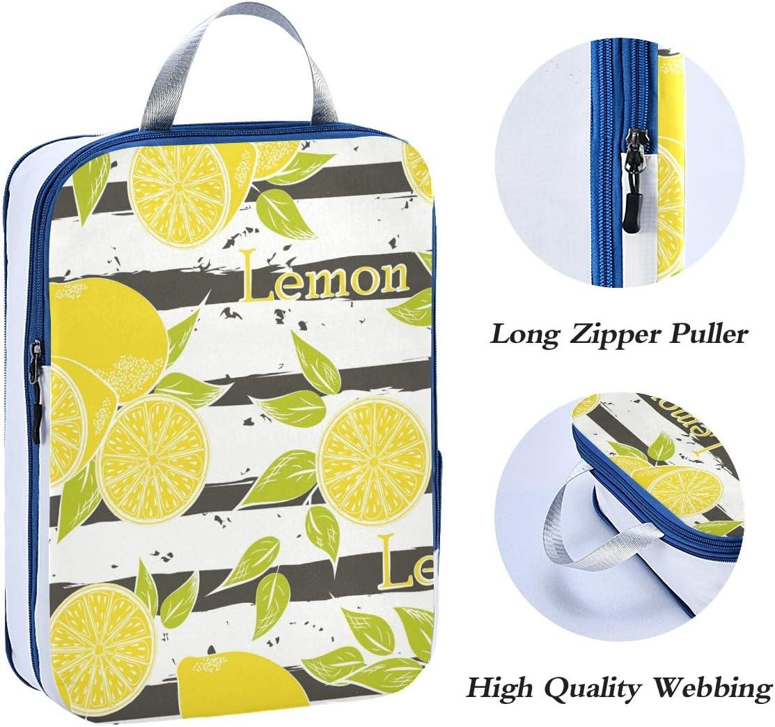 Lemon Stripe Pattern 3 Set Packing Cubes,2 Various Sizes Travel Luggage Packing Organizers f