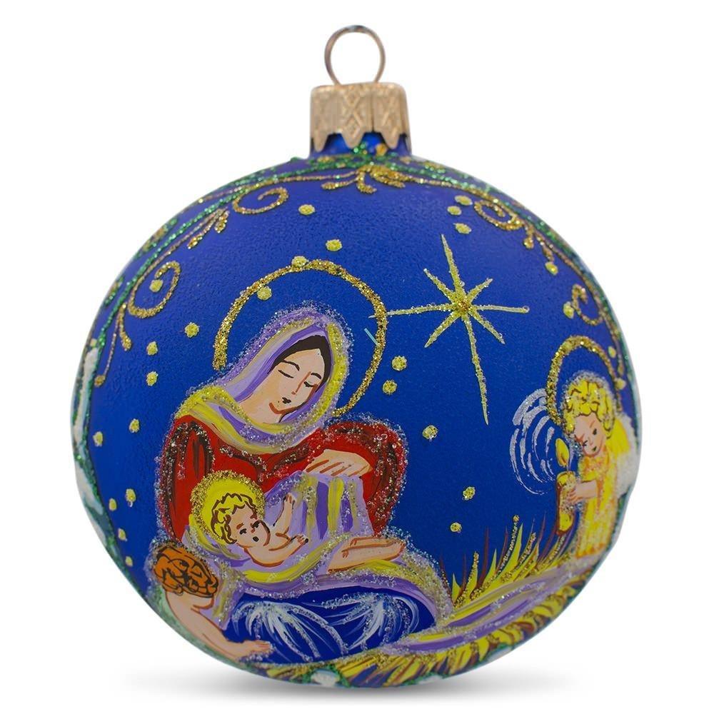 BestPysanky 3.25'' Angels Overlooking Baby Jesus Ukrainian Glass Ball Christmas Ornament