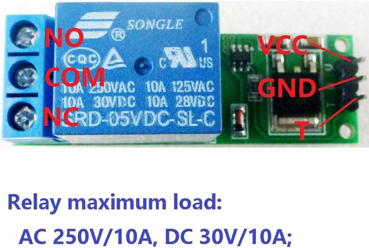 Ballylelly 12V 1CH Module de Relais /à Bascule /à Bascule Commutateur bistable /à Verrouillage Automatique Carte de d/éclenchement /à impulsions Basses pour Arduino Maison Intelligente Moteur /à LED