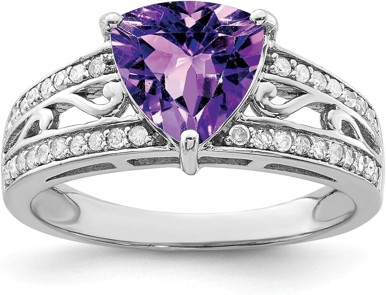 0.18ct Gem Wt Carat Wt Sterling Silver Amethyst /& Diamond Ring 1.56ct