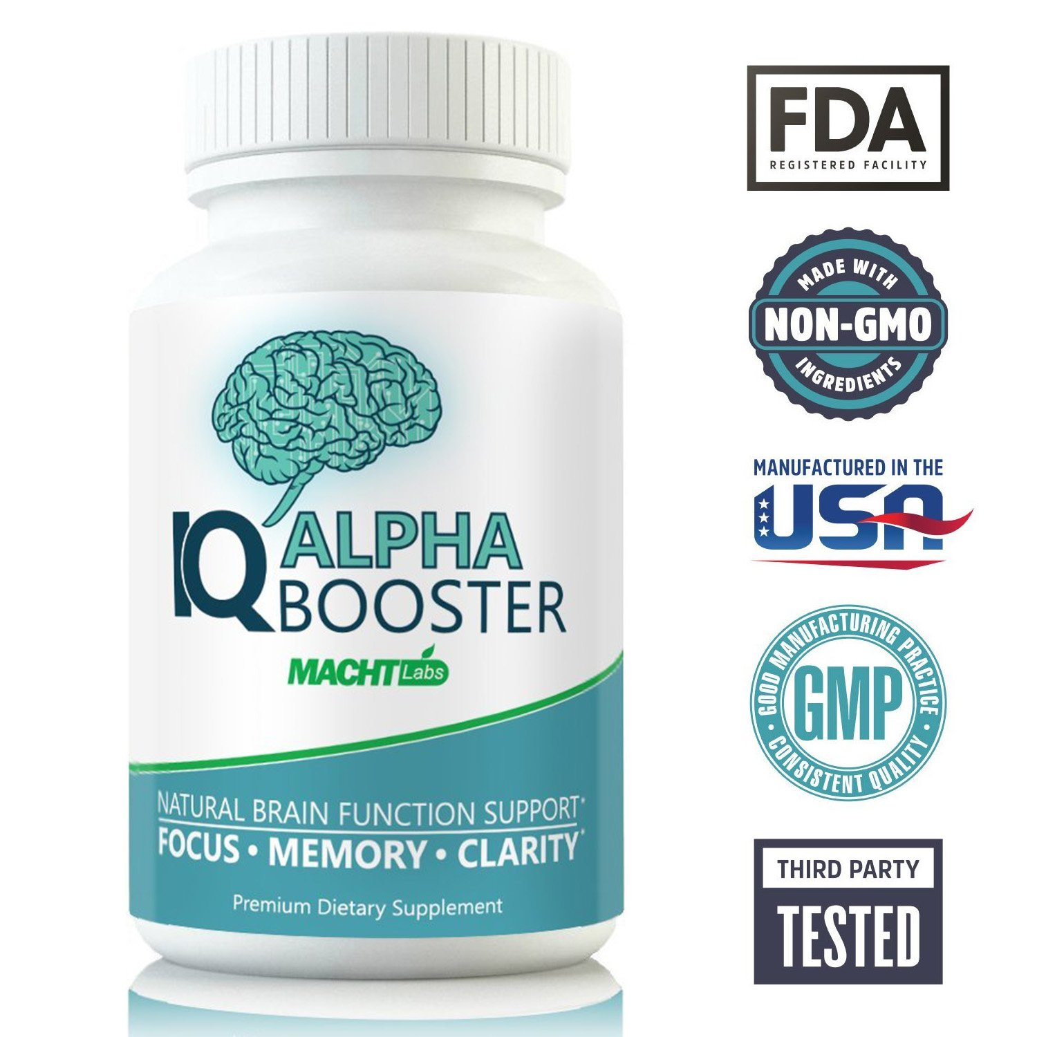 Neuroenhancer Brain Supplement for Memory, Focus & Clarity - Holistic Nootropic Stack for Brain Health and Memory Enhancement - DMAE, Bacopa, Ginkgo - IQ Alpha Brain Pill Supplements 60 Caps