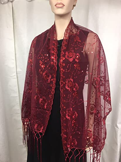 73c5a3b2dc2c Amazon.com: Burgundy Sequin Beaded Shawl Flower Wedding Party Gift Evening  Wrap/wedding/new Year Eve /Formal Event/: Arts, Crafts & Sewing