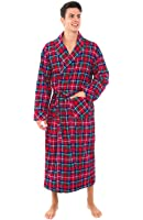 Alexander Del Rossa Mens Flannel Robe, Soft Cotton Bathrobe