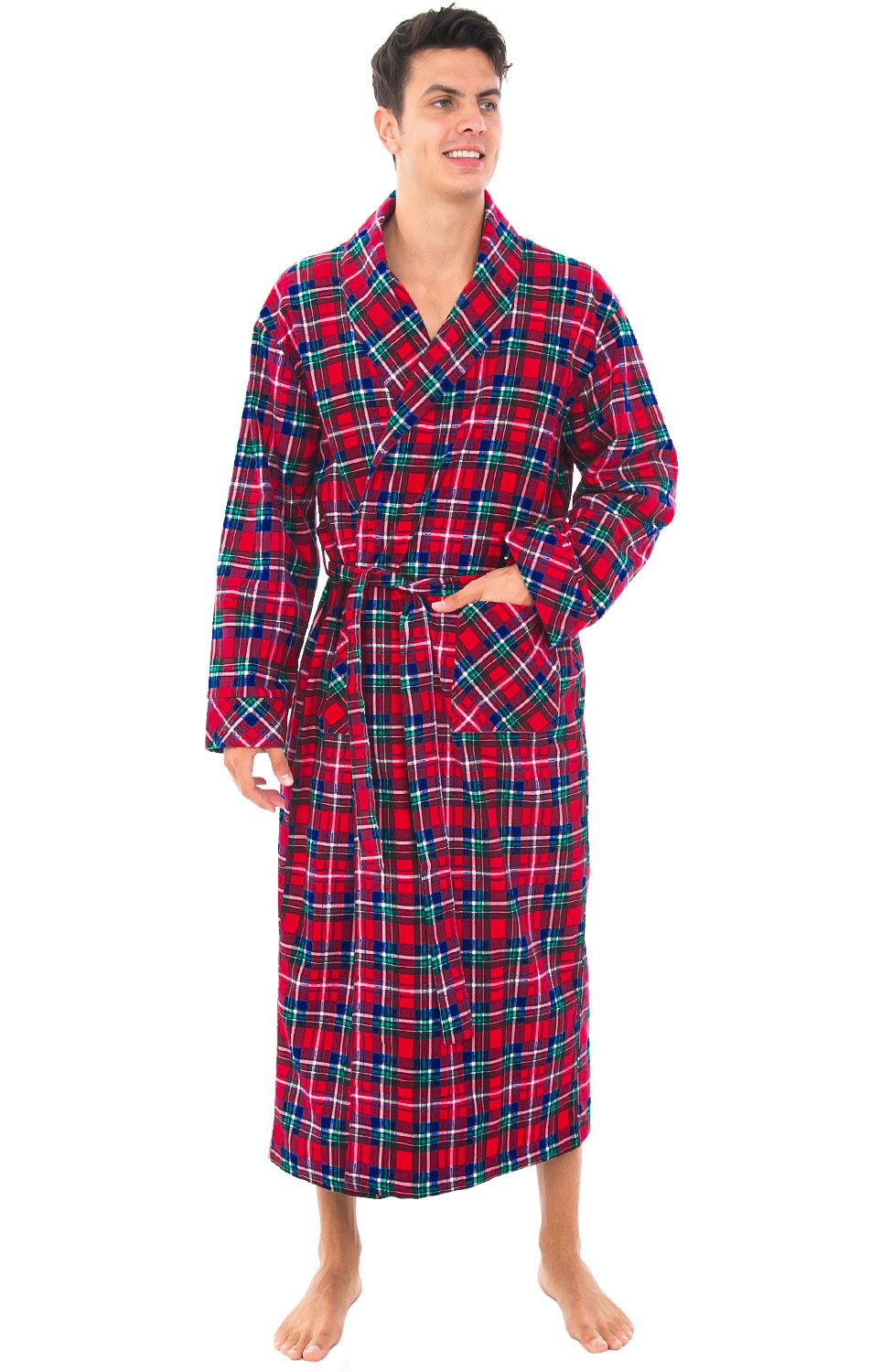 Alexander Del Rossa Mens Flannel Robe, Soft Cotton Bathrobe, Large Blue Red and Green Plaid (A0707Q19LG)