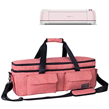 Weeare Double-layer Cricut Carrying Bag Compatible with Cricut Explore Air(Air2), Cricut Maker, Cricut Die-Cut Machine,Cricut Accessories Case Bag (Pink)