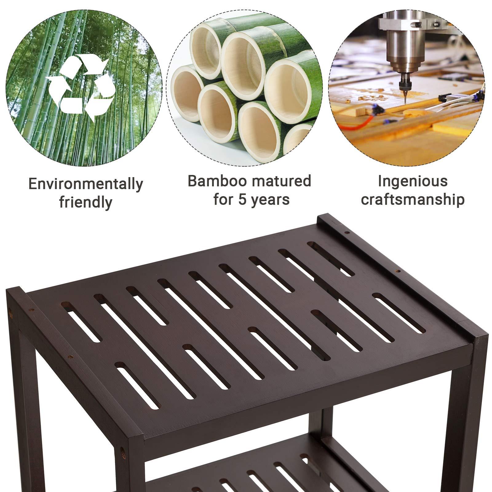 SONGMICS 7-Tier Bamboo Bathroom Shelf, 2-in-1 Design Adjustable Storage Rack, Free Standing Multifunctional Organizer, Shelving Unit for Washroom, Living Room, Kitchen, Brown UBCR01BR by SONGMICS (Image #8)