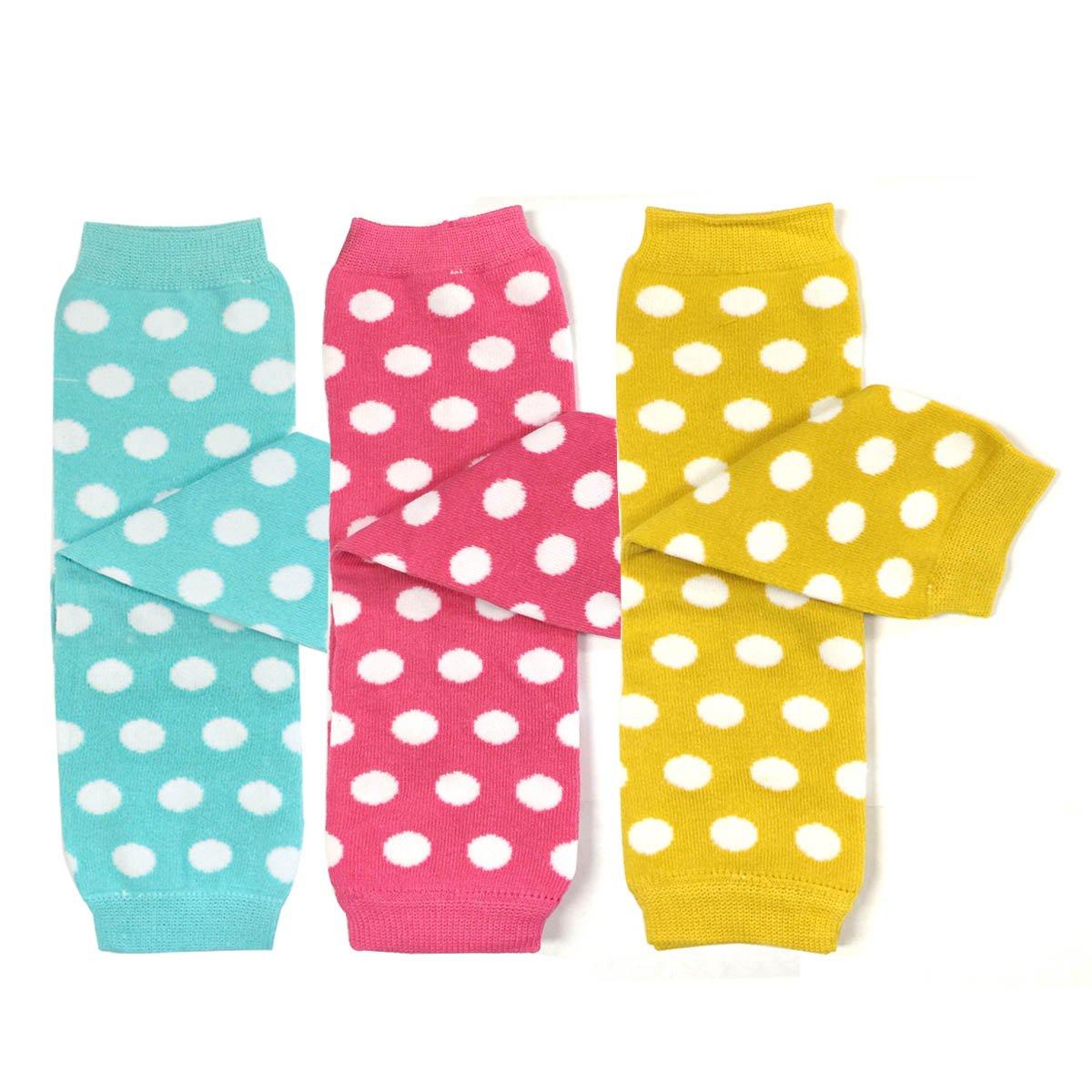 Bowbear Baby 3-Pair Colorful Leg Warmers Dots in Aqua Pink Yellow B68807c_AFN