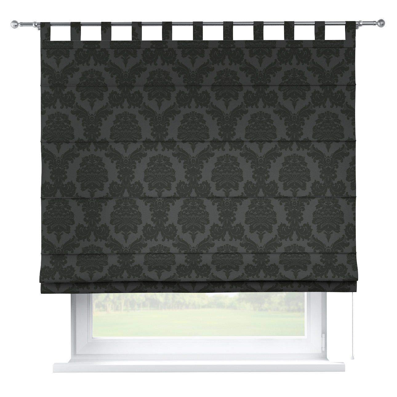 Dekoria Raffrollo Verona ohne Bohren Blickdicht Faltvorhang Raffgardine Wohnzimmer Schlafzimmer Kinderzimmer 130 × 170 cm schwarz Raffrollos auf Maß maßanfertigung möglich