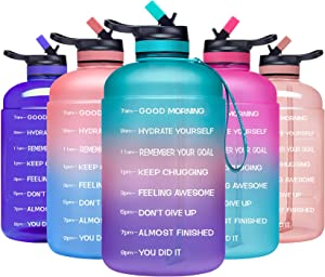 ADOLPH Large Half Gallon Motivational Water Bottle with 2 Lids (Chug and Straw), Leakproof BPA Free Tritan Sports Water Jug with Time Marker to Ensure You Drink Enough Water Throughout The Day