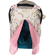 Unicorn Print Baby Car Seat Cover Nursing Cover Carseat Canopy Pink 300035