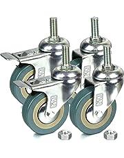 H&S® 4 x Heavy Duty 75mm Rubber Swivel Castor Wheels Trolley Furniture Caster - Screw