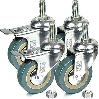 H&S - 4 ruedas pivotantes para muebles, caucho, 75 mm, resistentes