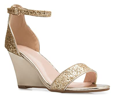 309a4b019 Amazon.com  OLIVIA K Womens Ankle Strap Wedge Heel Sandals - Adorable  Glitter Open Toe - Casual