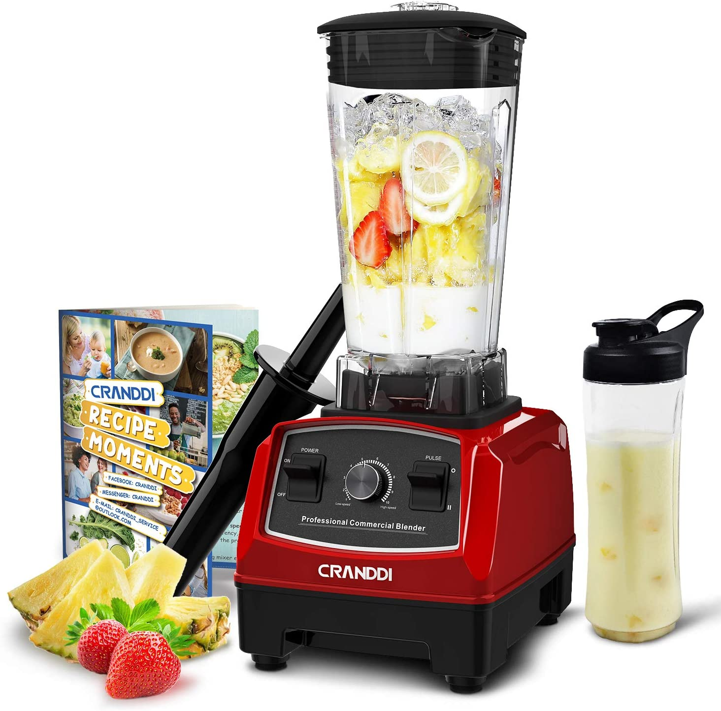 CRANDDI Countertop Blender, Professional High-Speed Smoothie Blender with 70oz Pitcher for Family Size Frozen Smoothies and Drinks, Built-in Pulse & 9-speeds Control with 1500W Base, Easy Self-Cleaning, KND-YL-010-R New