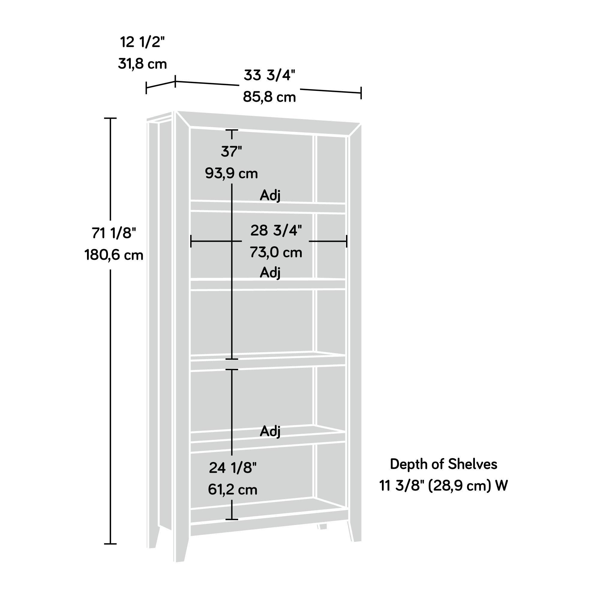 Sauder 418546 Dakota Pass 5-Shelf Bookcase, L: 33.78'' x W: 12.52'' x H: 71.1, Craftsman Oak finish by Sauder (Image #6)