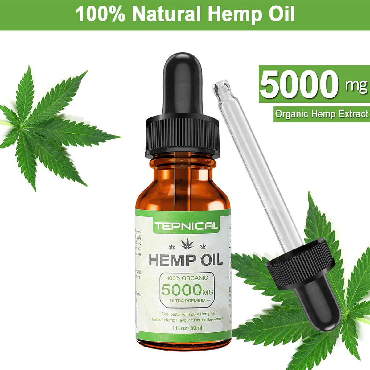 Hemp Oil with 5000mg of Organic Hemp Extract for Pain, Anxiety & Stress Relief - 100% Natural Hemp Oil Drops, Helps with Sleep, Skin & Hair by TEPNICAL