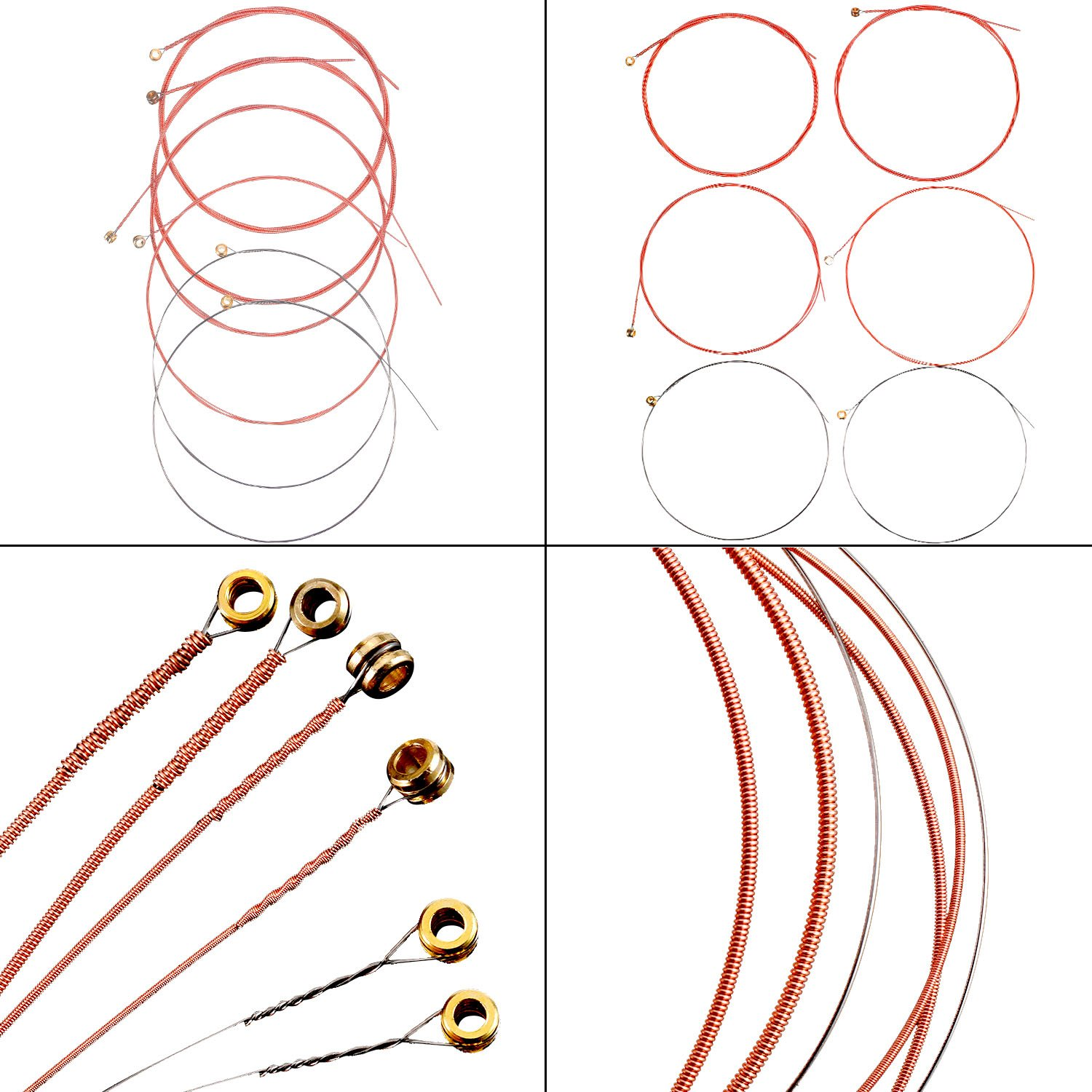Bememo 3 Sets of 6 Guitar Strings Replacement Steel String for Acoustic Guitar 1 Brass Set, 1 Copper Set and 1 Multicolor Set