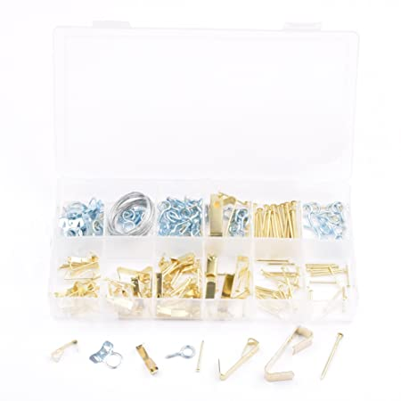 Seah Hardware 260 Piece Picture Hanging Kit - Wire, Gold Nails, Hang ...