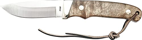 Old Timer PHW Pro Hunter 8in High Carbon S.S. Full Tang Fixed Blade Knife with 3.6in Drop Point and Wood Handle for Outdoor, Hunting and Camping
