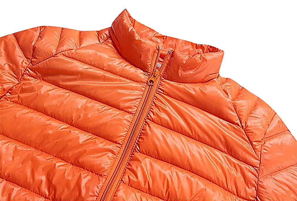 CELINO Mens Trendy Padded Jacket Fitted Full Zipped Light Weight Casual Puffer Orange X-Large