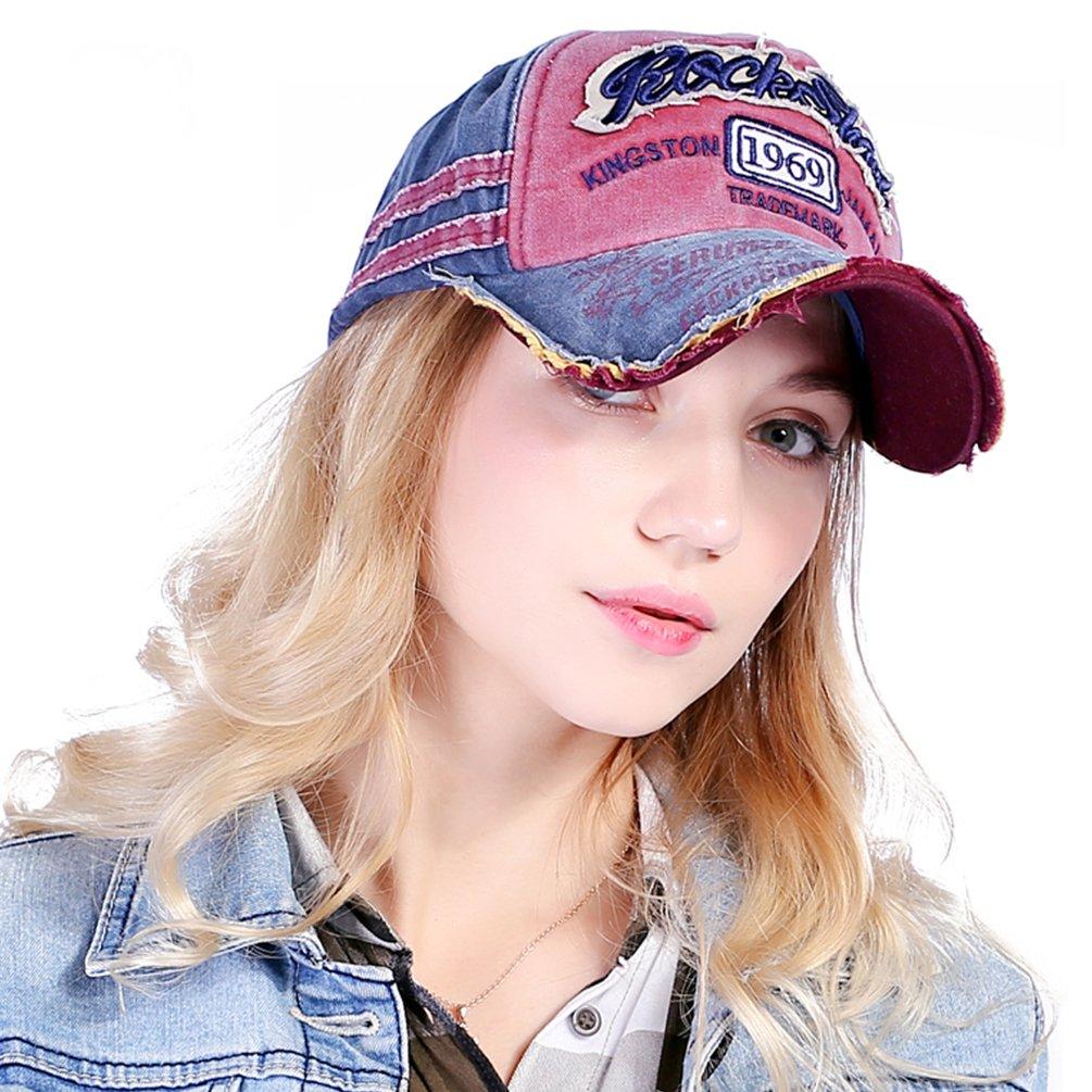 Vbiger Uomo Donna Strappato Cappellino da baseball Chic Casquetee Cappello Trendy con squisito motivo a ricamo, Blu scuro