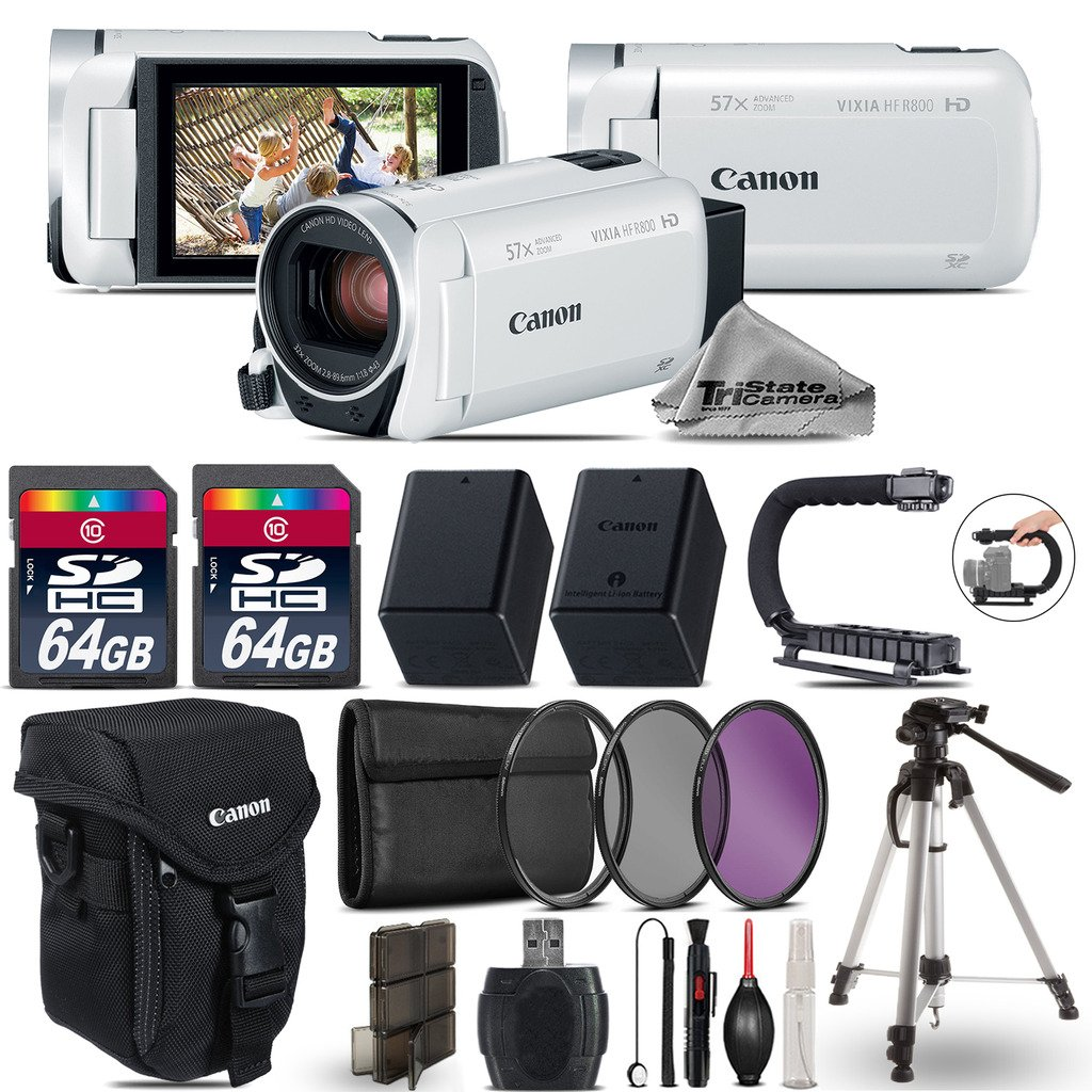 Canon VIXIA HF R800 Camcorder (White) + Stabilizing Handle + Backup Battery for BP-727 + 2 Of 64GB + UV-CPL-FLD Filters + Tripod + Case + Memory Card Hard Plastic Case + Lens - International Version by TriStateCamera