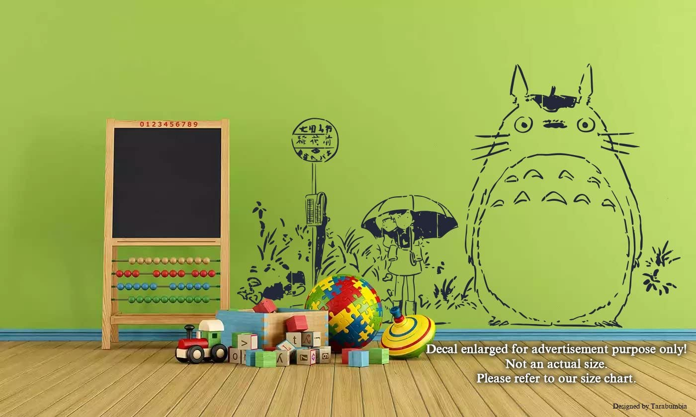 Japanese Anime Cartoons Characters Wall Decals Satsuki Mei and Totoro My Neighbor Totoro Stickers Decorative Design Ideas for Your Home or Office Walls Removable Vinyl Murals EC-0408