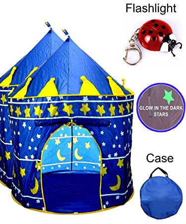 TentTrix Kids Play Tent - Indoor / Outdoor Blue Prince Castle Tent - GLOW IN THE  sc 1 st  Amazon.com : kids glow tent - memphite.com