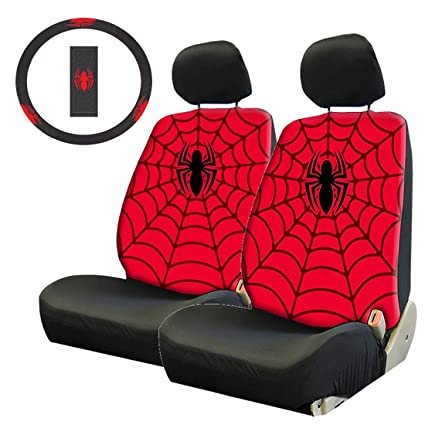 5pc Marvel Spiderman Front Lowback Seat Covers Steering Wheel Cover Set New