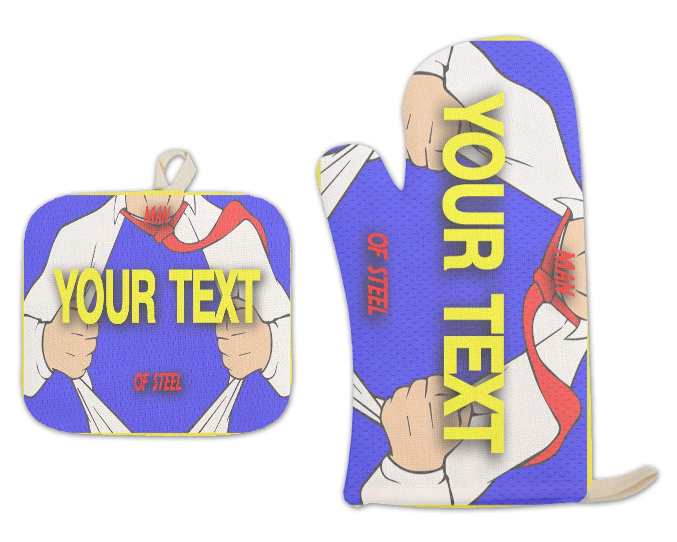 BRGiftShop Personalized Custom Name Superhero Series: Man of Steel Blue and Red Linen Oven Mitt and Potholder Set