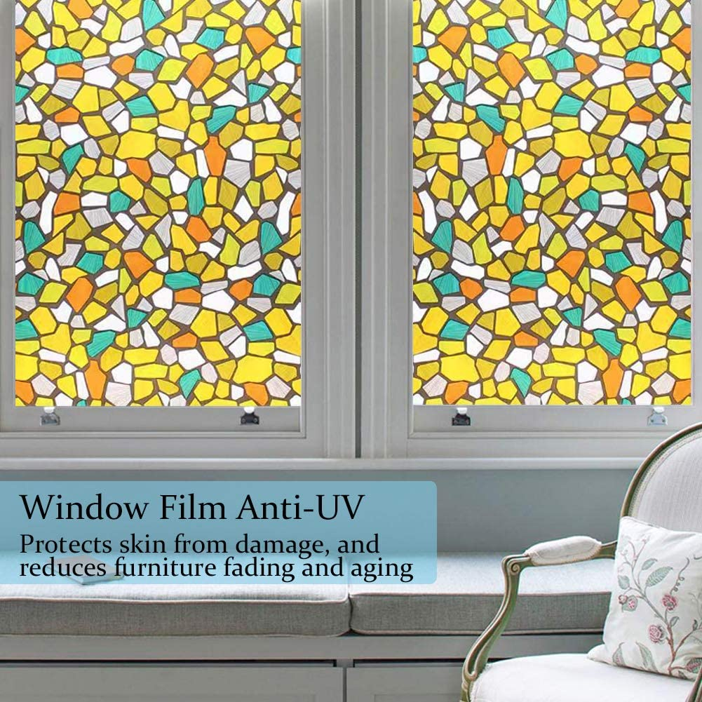 WochiTV Privacy Window Film Frosted Window Film No Glue 17.5 Inch x 6.56 Feet Static Cling Glass Film UV Protection Heat Control Reusable Perfectly Decorate Home Kitchen Bedroom Office Colorful