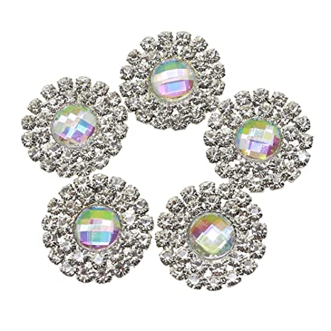 Lkeran 10pc 19MM round AB color Acrylic Double row shiny rhinestone buttons  flat back clothing metal be9129e4ce8a