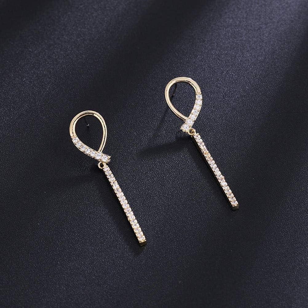 Estilo Coreano Ligero de Lujo Avanzado Aretes de Diamantes de Cuerpo Entero S925 Aguja de Plata Anillos de Oreja de Mujer Joyería de Temperamento de Mujer, WOZUIMEI, Como se muestra